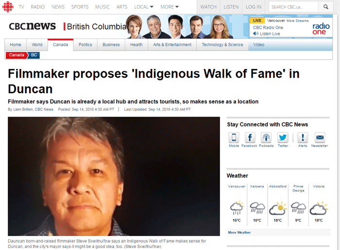 Filmmaker proposes 'Indigenous Walk of Fame' in Duncan