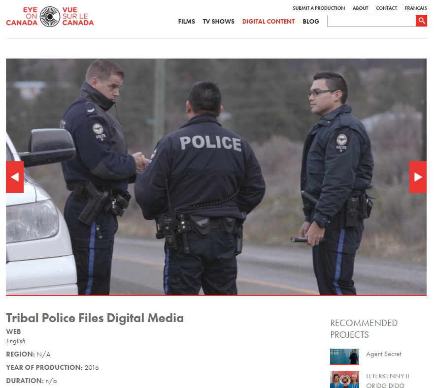 Tribal Police Files Digital Media featured on EyeonCanada.com